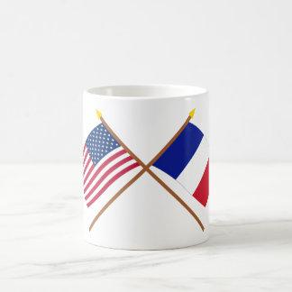 US and France Crossed Flags Basic White Mug