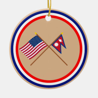 US and Nepal Crossed Flags Round Ceramic Decoration