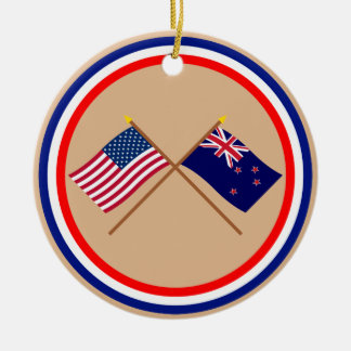 US and New Zealand Crossed Flags Round Ceramic Decoration