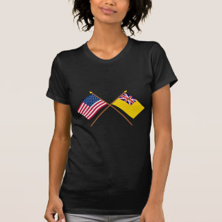 US and Niue Crossed Flags T-Shirt