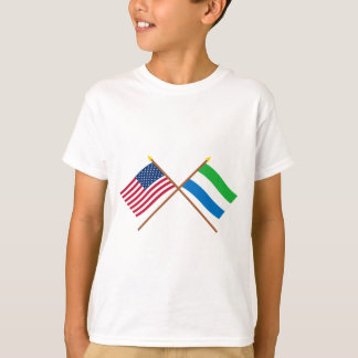 US and Sierra Leone Crossed Flags T-Shirt