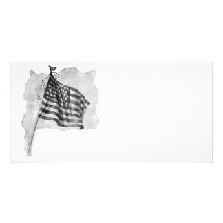 US Flag Patriotic Vintage Art Personalized Photo Card