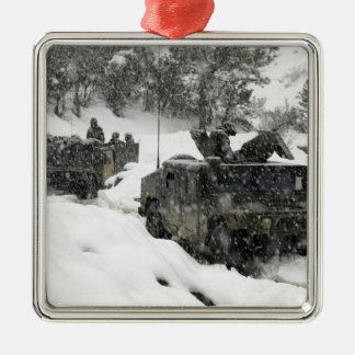 US Marines patrol in Khowst-Gardez Pass Silver-Colored Square Decoration