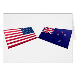 US New Zealand Flags Greeting Card