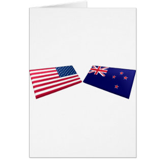 US & New Zealand Flags Greeting Cards