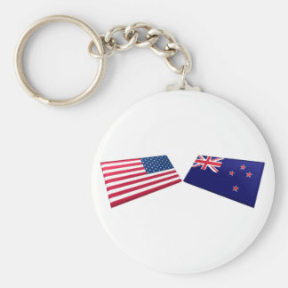 US & New Zealand Flags Keychain