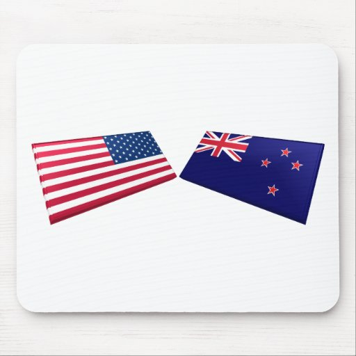 US & New Zealand Flags Mouse Pads