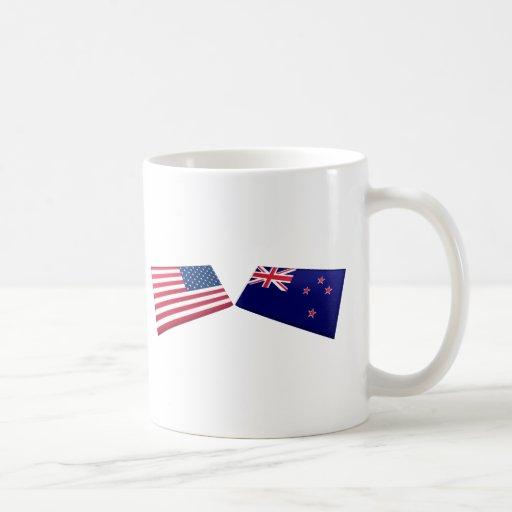 US & New Zealand Flags Mugs