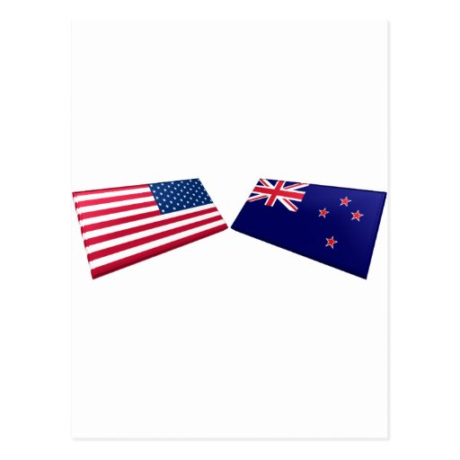 US & New Zealand Flags Postcards