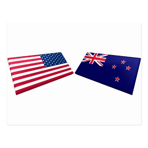 US & New Zealand Flags Postcard