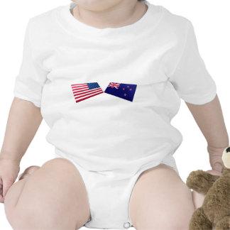 US New Zealand Flags Tee Shirts
