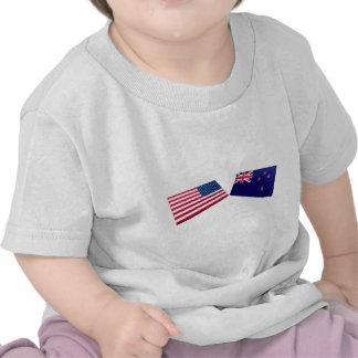 US & New Zealand Flags T Shirt