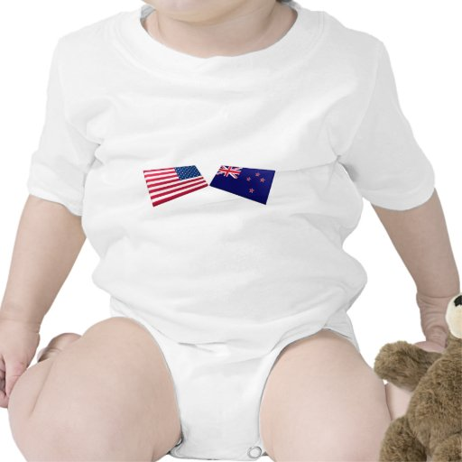 US & New Zealand Flags Tee Shirts