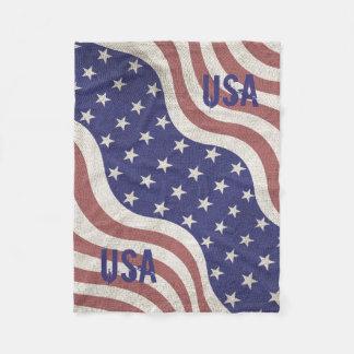 US pride patriotic weathered flag USA monogram Fleece Blanket
