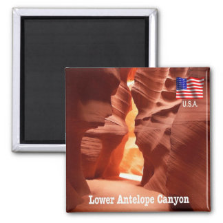 US - U.S.A. - Arizona - Lower Antelope Canyon Square Magnet