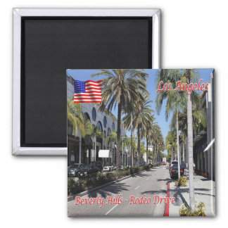 US U.S.A. Los Angeles Beverly Hills Rodeo Drive Square Magnet