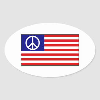 US United States Peace Sign Flag Oval Sticker