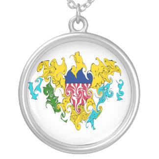US Virgin Islands Gnarly Flag Round Pendant Necklace