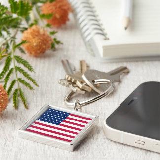 USA American Flag Patriotic Square Metal Keychain