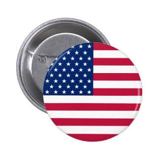 USA American Flag Stars Patriotic Round Pin Button
