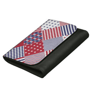 USA Americana Diagonal Red White & Blue Quilt Leather Wallets