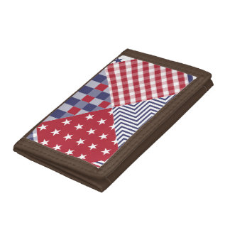 USA Americana Diagonal Red White & Blue Quilt Trifold Wallets