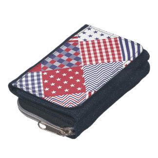 USA Americana Diagonal Red White & Blue Quilt Wallets