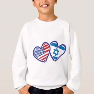 USA and Israel Heart Flag Sweatshirt