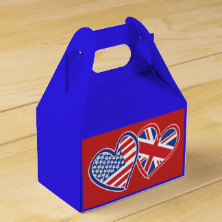 USA and UK Flag Hearts Favour Box