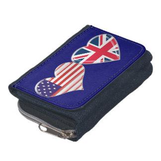 USA and UK Hearts Flag Wallet