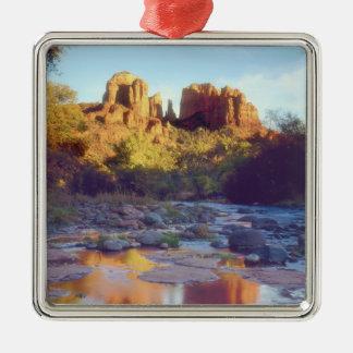 USA, Arizona, Sedona. Cathedral Rock reflecting Silver-Colored Square Decoration