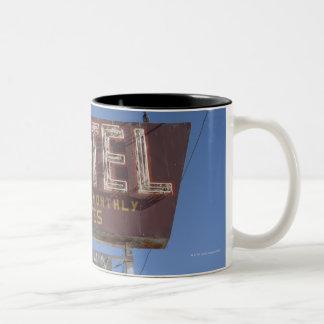 USA, Arizona, Winslow, Old-fashioned motel sign Two-Tone Coffee Mug