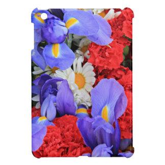 USA Bouquet Red Carnation White Daisy Blue Iris iPad Mini Cover