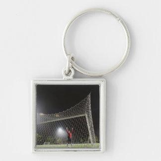 USA, California, Ladera Ranch, Football player Silver-Colored Square Key Ring