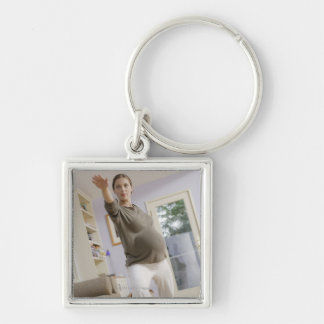 USA, California, Los Angeles, expectant mother Silver-Colored Square Key Ring