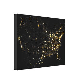 USA City Lights at Night Canvas Print