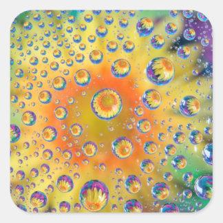 USA, Colorado, Lafayette. Water bubbles on glass 2 Square Sticker