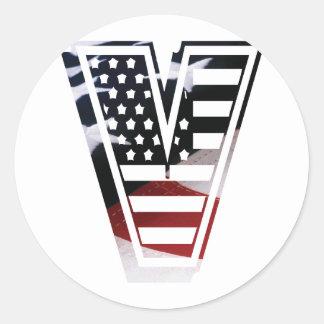 USA Flag American Initial Monogram V Round Sticker