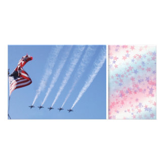 USA Flag and Blue Angels photo card template