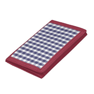 USA Flag Blue and White Gingham Checked Tri-fold Wallet