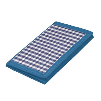 USA Flag Blue and White Gingham Checked Tri-fold Wallets