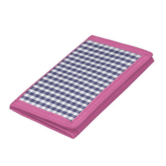 USA Flag Blue and White Gingham Checked Trifold Wallet