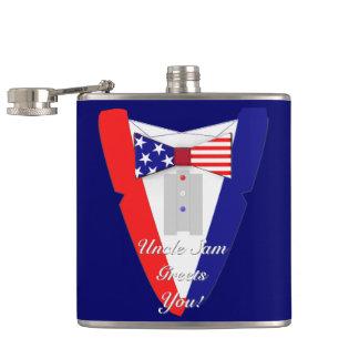 USA Flag BowTie Tuxedo Uncle Sam Greets You Hip Flasks