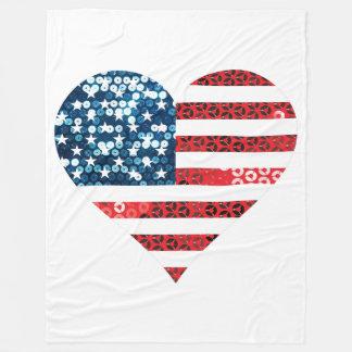 usa flag heart blanket