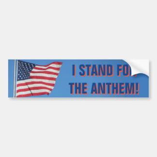 USA Flag I Stand for the National Anthem Blue Bumper Sticker
