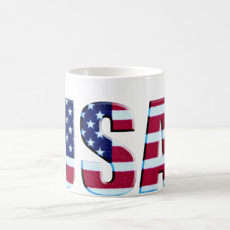 USA Flag Letters Coffee Mug
