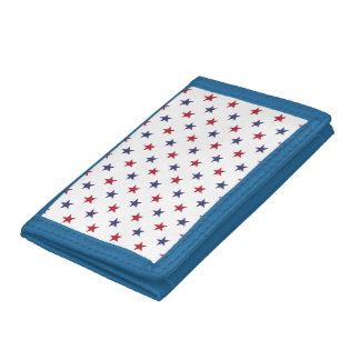 USA Flag Red and Flag Blue Stars Tri-fold Wallets
