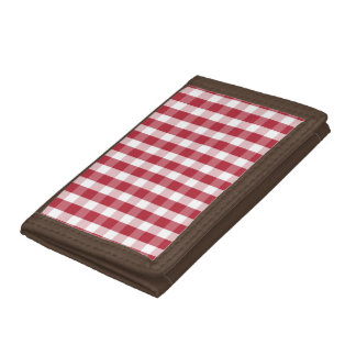 USA Flag Red and White Gingham Checked Tri-fold Wallet