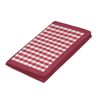 USA Flag Red and White Gingham Checked Trifold Wallet
