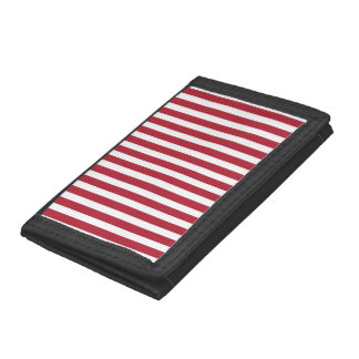 USA Flag Red and White Stripes Trifold Wallet